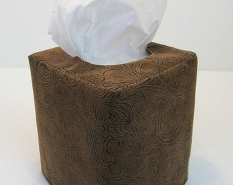 Faux Leather Reversible Tissue Box Cover
