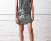 Dandelions and Birds in Flight Women's T-shirt Dress, Dandelions Print Dress Eco Grey, Gift for Her