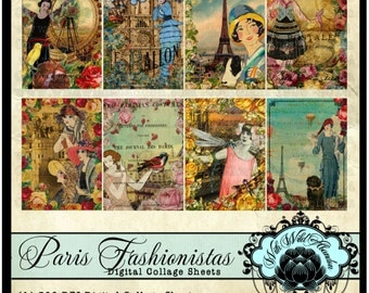 Paris Digital Collage Sheet, Paris Clipart, Paris Vintage Tag Set Blank ACEO Size, ATC Digi Stamp, Truth Cards