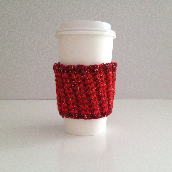 Red striped knit coffee cup holder coffee cozy
