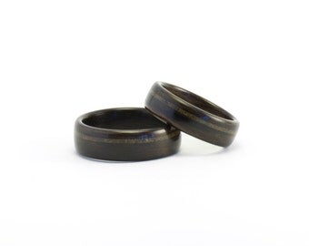 Wood Wedding Rings, Wooden Rings, Meteorite Rings, Ebony Wood Wedding Bands, Men's Wood Rings, Wedding Ring Set, Bentwood Rings, Meteor Ring