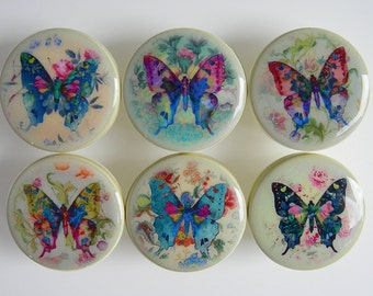 Colorful Butterfly Drawer Knobs, Pink Turquoise Butterflies Antique Yellow Knob- Wood -1 1/2 Inches - Choose your quantity, Made to order