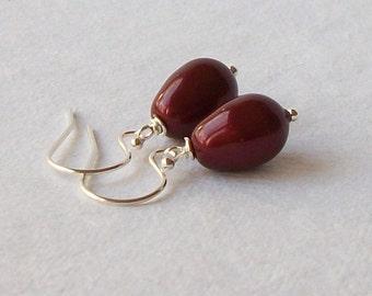 Wine Pearl Drop Earrings Wedding Jewelry Bridesmaid Gift