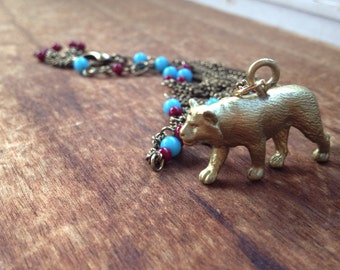 Majestic Tigress Necklace with Blue and Red Beads