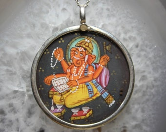 Ganesh Talisman Pendant Silver Chain Necklace