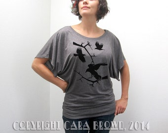Crow T shirt womens Raven Bird silhouette short sleeve wiccan pagan halloween design