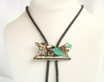 Turquoise Coral Roadrunner Bolo Tie Vintage Silvertone Enamel Slide Leather Cord Bola Necktie