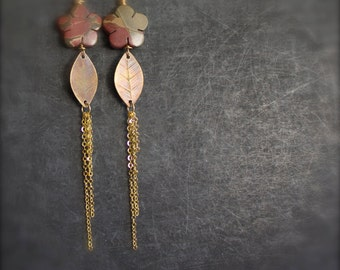 Stone Flower Etched Brass Leaf Dangle Earrings Red Creek Jasper Brown Brass Leaves Long Metalwork Nature Boho Jewellery