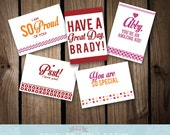 Lunch Box LOVE NOTES 5 set Note Card - Customizable kids notes love note valentines i love you cards Note Card Printable DIY Digital File