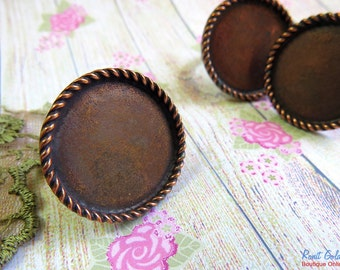 Round Copper Ring Blank base setting for 25 mm , 1 inch cab , Adjustable wide band, oxidized rustic finish,  Statement ring bezel tray