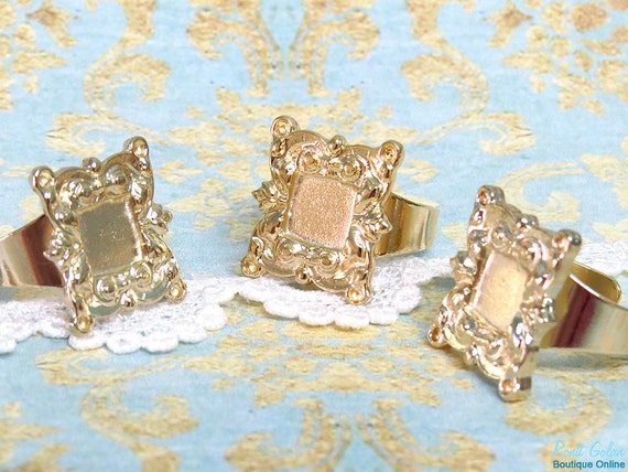 Square Gold plated Ring Blank setting for 8x8 mm cab , Adjustable wide band , 23 carat Gold Plated elegant base bezel for 4 rhinestones