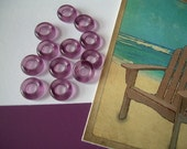 RESERVED for L - 9mm Purple Glass Rings Hoops Donut Beads 80 pcs. Czech Grape