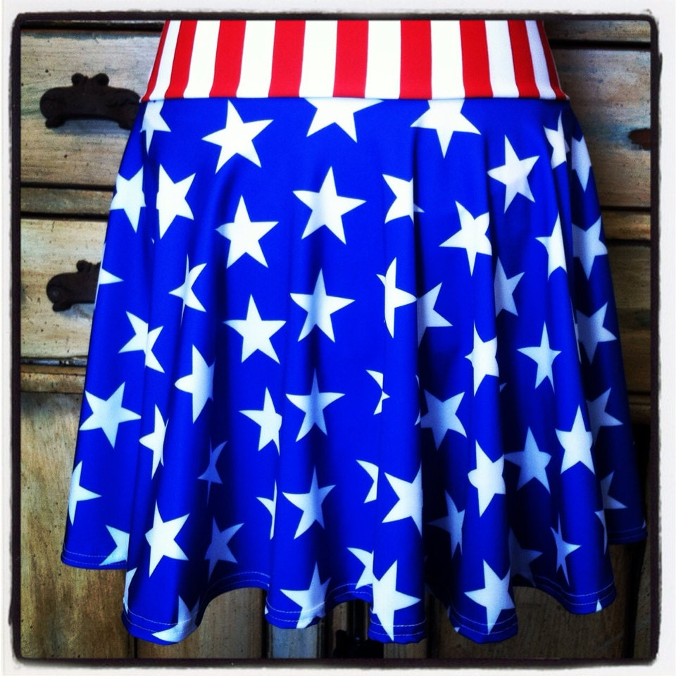 Running circle skirt red white blue stars stripes captain