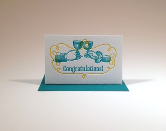 Letterpressed Congratulations Gift Enclosure (Toasting Hands)