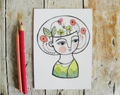 Flowers postcard, pastel girl illustration
