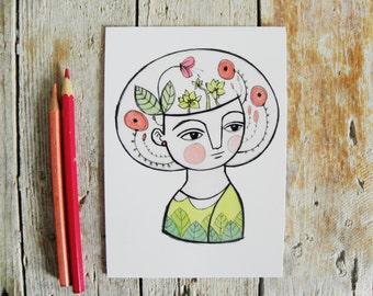 Flowers postcard, pastel girl illustration