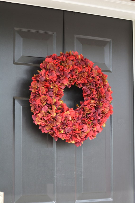 Fall Decor- Red Apple Hydrangea Wreath- Fall Wreaths- Fall Hydrangea Wreath- Autumn Decoration- Thanksgiving Wreath- Thanksgiving Decor