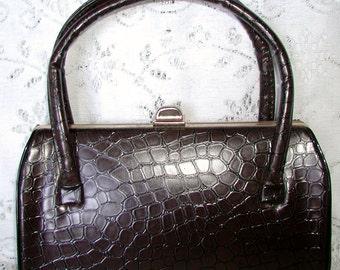 SALE ... Vintage Faux Alligator Brown Handbag