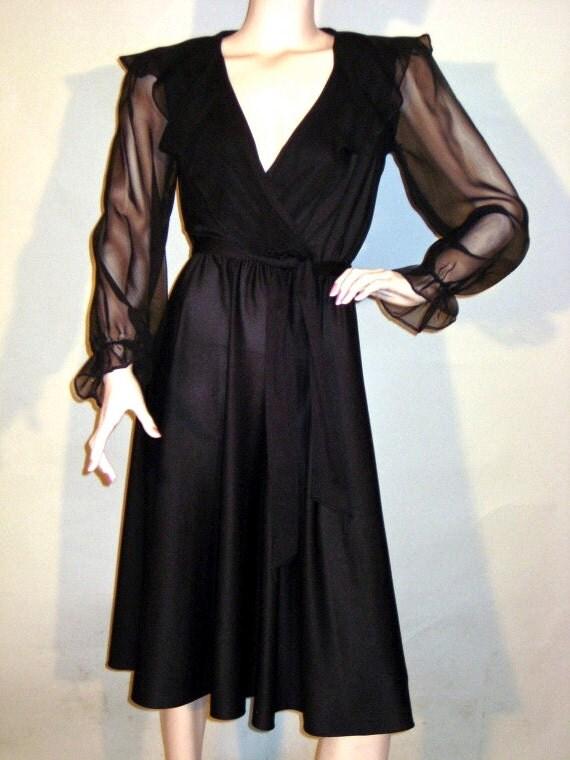 Vintage 70's / 80's Sexy Black Sheer Dress