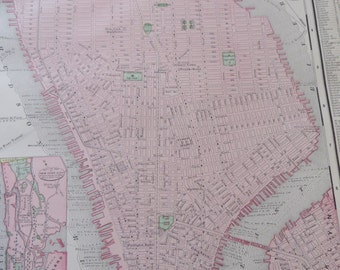 1901 Map New York City - Vintage Antique Map Great for Framing 100 Years Old