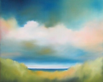 "Beach painting, ocean painting, coastal decor, beach artwork, cloud, cloud painting, ""Misty Dunes"" 18x18"