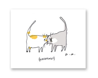 Greetings Headbutt Card - Cat Card- Funny Cat Card