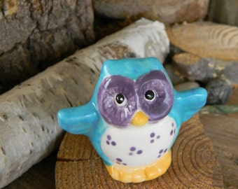Ceramic Owl Miniature Terrarium,  Turquoise Purple  Pottery  Barn Owl   ....Glazed Glass