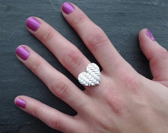 Large Knitted Heart Ring in Sterling Silver - made to order in your size