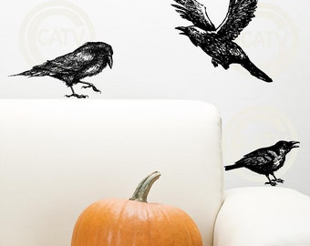 Halloween Crow / Raven vinyl lettering wall decal sticker home decor birds