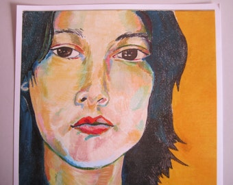 Luna~ Print of my Original Painting ~Yellow Lady Portrait 9x12