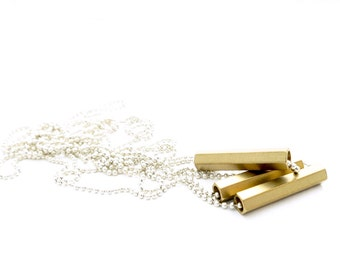 """Minimalist Geometric Necklace. Brass Hexagon Tubes Necklace. Layered Necklace. Silver Necklace. Minimalist Jewelry. Extra Long Necklace 46"""""""