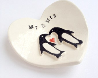 Mr & Mrs penguin engagement gift ring holder heart dish handmade by Cathie Carlson