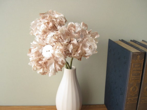 3 Champagne Fluffy Flowers, fabric bouquet