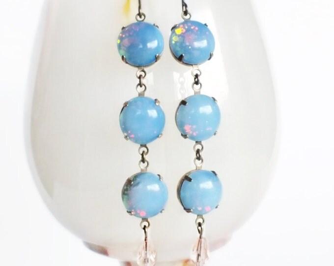 Opal Dangle Earrings Vintage Glass Soft Pastel Rainbow Glitter Earrings Pastel Glitter Jewelry