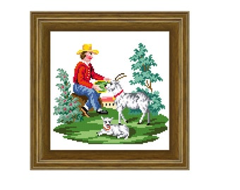The goat herder - cross stitch pattern. Instant download PDF