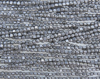 2mm (0.5mm hole) Antique Silver Finish Solid Brass Metal Cornerless Cube Beads - 24 Inch Strand (BS596)