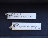 Moon of My Life Key Chain Set - Valentine's Day -  Romantic - Sun - Stars  - Looks Like Silver - Guys - Under 50 - Stocking Stuffer