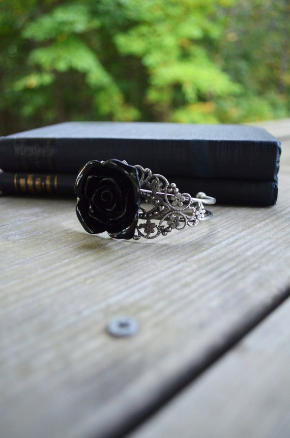 Black Rose Cuff Bracelet - Antique Silver Color - Wedding Bracelet - Wedding Jewelry - Bridesmaid Gift - Gifts Under 25
