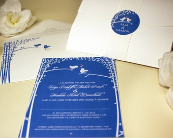 Love Birds Wedding Invitation, Blue, White, Green, Black, Brown, Trees, Sticker, Pocketfold, Rustic and Modern, Outdoor, Forest