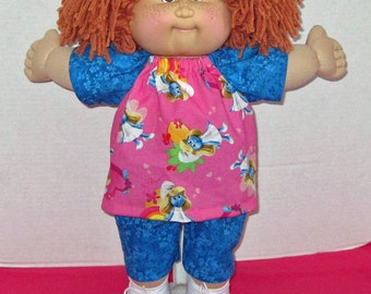 Cabbage Patch Kids, Doll Clothes, 15 16 inch doll Clothes, Smurfette Print Top and Short Set,  Fits Vintage Cabbage Patch Dolls