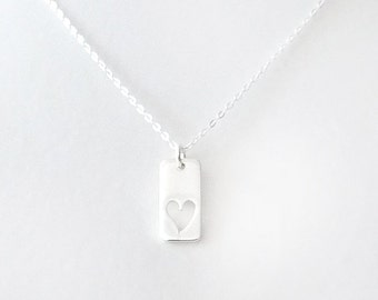 Silver Chain Pendant Necklace - Heart Charm - Sterling Silver - Silver - The Basics: Rectangle Open Heart Cut Out