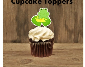Frog Birthday Party - Set of 12 Frog Cupcake Toppers by The Birthday House
