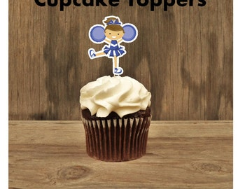Cheer Party - Set of 12 Cheerleader Cupcake Toppers in Blue by The Birthday House