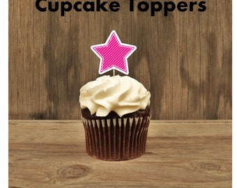 Nautical Birthday Party - Set of 12 Hot Pink Star Cupcake Toppers by The Birthday House