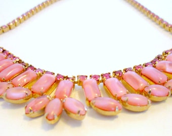 Vintage Pink Rhinestone Choker Bridal Necklace 1950s Pink Opalescent Stones