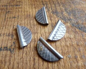 Sterling Silver Half Circle Cross Hatch Beads