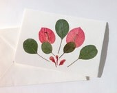 Pressed Flower Card Bouganvilla leaves Blank Greeting Card pink and green leaves Note card