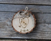 Wood Ring Holder - Rustic Wedding - Alternative to Ring Bearer Pillow - Forever Keepsake - Custom Christmas Ornament - 5th Anniversary Gift