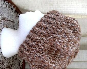 Crochet Hat Womens Hat Slouchy Hat Brown Cream Tweed Yarn Blend Fall Fashion Accessories Wool
