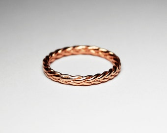 Solid 14k Rose Gold Thin Braid Ring